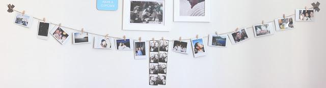 Muro decorato con foto istantanee scattate con Instax mini 80 di Fujifilm