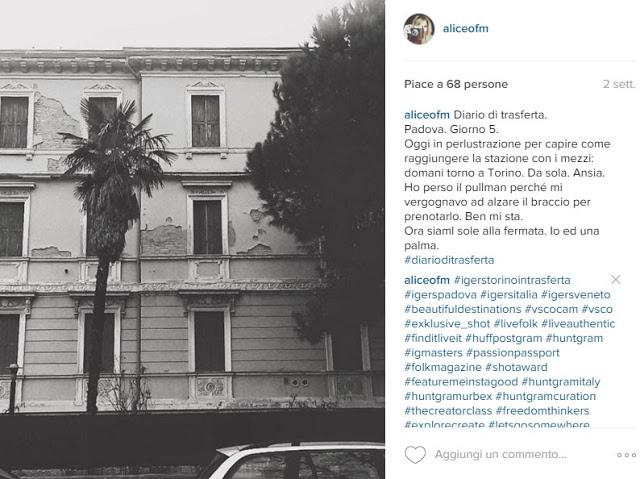 Aspettando l'autobus a Padova, Instagram